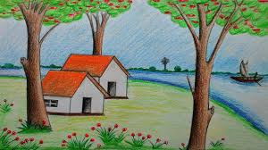 beautiful scenery with colour pencils