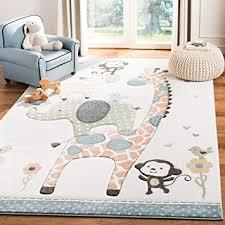 Amazon Com Safavieh Carousel Kids Collection Crk120a Animal Nursery Playroom Area Rug 8 X 10 Ivory Furniture Decor