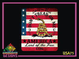 Aged American Flag Don T Tread On Me America Land Of The Free Printed Vinyl Decal