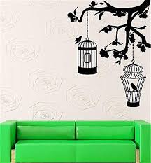 Bird Cage Tree Pattan Sticker Vinyl Art Kids Room Living Home Wall Art Decor