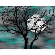 Teal Gray Wall Art Tree Moon Bedroom Decor Matted Picture Grey Wall Art Teal Bedroom Walls Moon Wall Art