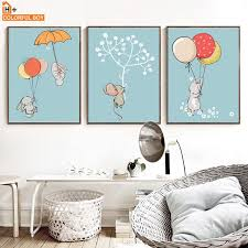 Colorfulboy Rabbit Balloon Wall Art Canvas Print Watercolor Poster For Kids Room Canvas Painting Wall Pict Baby Room Decor Wall Art Canvas Prints Wall Painting