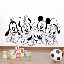Disney Baby Mickey Minnie Goofy Pluto Wall Stickers For Kids Rooms Home Decor Cartoon Wall Decals Vinyl Mural Art Diy Posters Wall Stickers Aliexpress
