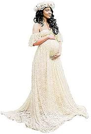 فستان حوامل سيسلي طويل دانتيل مكشوف الكتفين ملائم لجلسات التصوير - Large  آرمي جرين: Amazon.ae