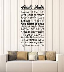 Vinyl Wall Decal Family Rules Inspiring Words Phrase Living Room Stick Wallstickers4you