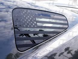 Amazon Com Decal Concepts Flat Black American Flag Rear Quarter Window Accent Decal Fits Mustang 2010 2014 Automotive