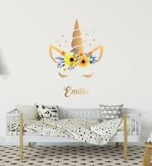 Golden Unicorn Horn Nursery Wall Decoration Girl Name Room Etsy