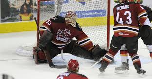 Tucson Roadrunners Goaltender Adin Hill stops a Stockton Heat shot - March  18, 2018 Photo on OurSports Central