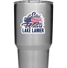 Lake Lanier American Flag Decal Sticker Unsalted Waters