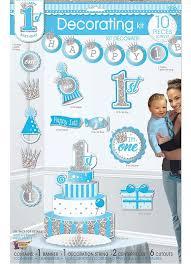 Happy 1st Birthday Decorating Kit Baby Boy 10 Piece Set