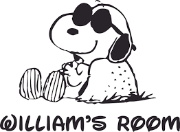 Snoopy Relaxing Cool Shades Dog Cartoon Customized Wall Decal Custom Vinyl Wall Art Personalized Name Baby Girls Boys Kids Bedroom Wall Decal Room Decor Wall Stickers Decoration Size 20x40 Inch