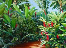 tropical jungle landscape red garden