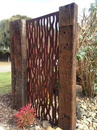 Metal Art Rust Tree Bark Feature Wall Panel Privacy Screen Etsy Fence Design Outdoor Privacy Privacy Fence Designs