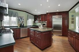 color schemes with cherry cabinets