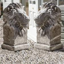 pair of large gondwana lion statues