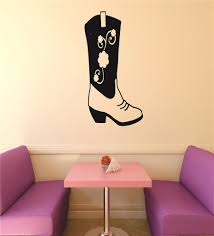 Vinyl Decal Western Cowgirl Flower Cowboy Boot Picture Art 20x40 Contemporary Wall Decals By Design With Vinyl