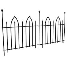 6 Gothic 2pc Garden Landscape Metal Border Fence Black 37 X 31 Per Panel Sunnydaze Decor Target