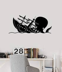 Funny Kraken Vinyl Wall Decal Octopus Ship Wave Nautical Art Stickers Wallstickers4you