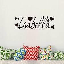 Isabella Name Heart Wall Art Sticker Decor Girls Nursery Bedroom Decal Np2