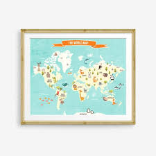 World Map Decal World Map Animals Animal World Poster Map Compassion World Map Wall Decal Kids Room Nursery Decor Digital Printable By Design My Party Studio Catch My Party