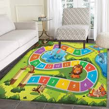 Amazon Com Kids Activity Area Rug Carpet Picnic In The Forrest Colorful Pathway To The Blanket With Friendly Animals Living Dining Room Bedroom Hallway Office Carpet 4 X5 Multicolor Kitchen Dining