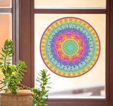 Amazon Com Mandala Rainbow Heart Mandala See Through Vinyl Transfer Window Decal Yadda Yadda Design Co Lg 9 75 Dia Rainbow Arts Crafts Sewing