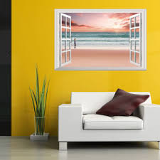 China Large Removable Beach Sea 3d Window Decal Wall Sticker Home Decor Exotic Beach View Art Wallpaper Mural China Wall Sticker And 3d Sticker Price