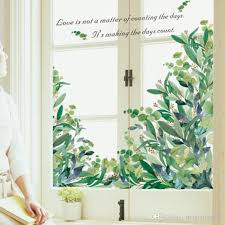 Green Leaves Fresh Plants Wall Stickers Window Glass Door Decor Wall Decals Diy Home Decoration Wall Art Love Quote Mural Poster Wall Decal Mural Wall Decal Murals From Magicforwall 7 92 Dhgate Com