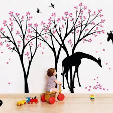 Tree Wall Decals Giraffe Birds Vinyl Wall Sticker Art Kids Decor 046 Studioquee On Artfire