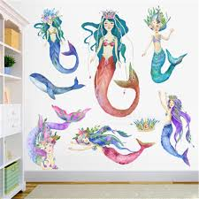 Mermaid Princess Wall Stickers For Kids Rooms Home Decor Baby Bathroom Mermaid Wall Decal Girl Bedroom Decorative Sticker Muraux Wall Stickers Aliexpress