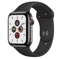 Apple Watch Series 5 GPS + Cellular, 44mm Space Black Stainless Steel Case  with Black Sport Band - Regular - Apple