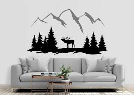 Deer In Mountains Wall Decal Mountain Wall Sticker Forest Etsy In 2020 Mountain Wall Decal Adventure Wall Decor Wall Decals