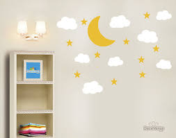 Moon Stars Clouds Vinyl Wall Decals Set Of 19 Stickers Yellow Whit