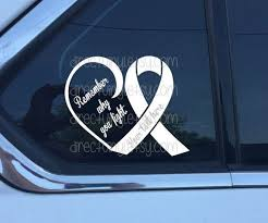White Awareness Ribbon Fight Heart Window Decal Lung Cancer Etsy