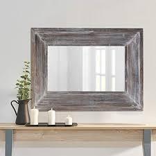 distressed wood frame wall mirror