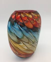 mouth blown antique murano glass vase
