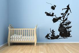 Amazon Com Pirate Ship Captain Hook Treasure Tinkerbell Wall Vinyl Sticker Fairy Tale Little Peter Pan In London Big Ben Moon Cartoon Character Girl Boy Nursery Kids Room Poster Art Tinker Bell Sa1487
