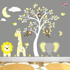 Safari Decal Grey And Yellow Wall Art Stickers Swinging Etsy In 2020 Grey Nursery Decor Baby Wall Stickers Jungle Wall Stickers