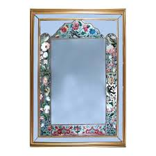 antique persian painted glass mirror
