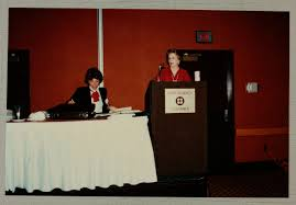 Phi Mu Digital History   Pam Wadsworth and Adele Williamson Leading  Convention Event Photograph, June 30-July 5, 1984