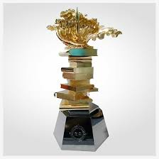 custom gold book shape trophies and