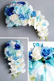 Janevini 2018 باقة أزهار زرقاء ملكية من الحرير للزفاف مع كريستال