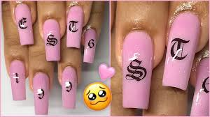 Old English Letter Nails Fast Easy Step By Step Acrylic Nails Tutorial Diy Youtube