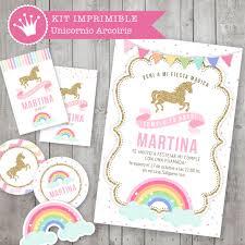 Kit Imprimible Unicornio Y Arcoiris Decoracion Para Fiestas Y
