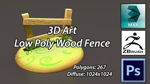 3d Speed Modeling Low Poly Wood Fence Youtube