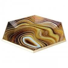 hexagon glass serving tray sand design