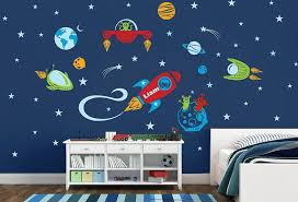Pin On Space Rocket Ship Astronaut Personalized Vinyl Wall Decals