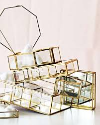 large gold glass mirrored jewelry box