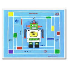 The Kids Room By Stupell Robot On Blue Background Square Wall Plaque