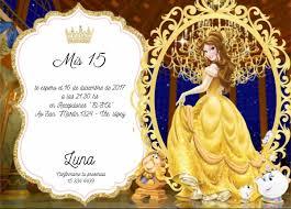 Invitaciones 15 Anos La Bella Y La Bestia 25 00 En Mercado Libre
